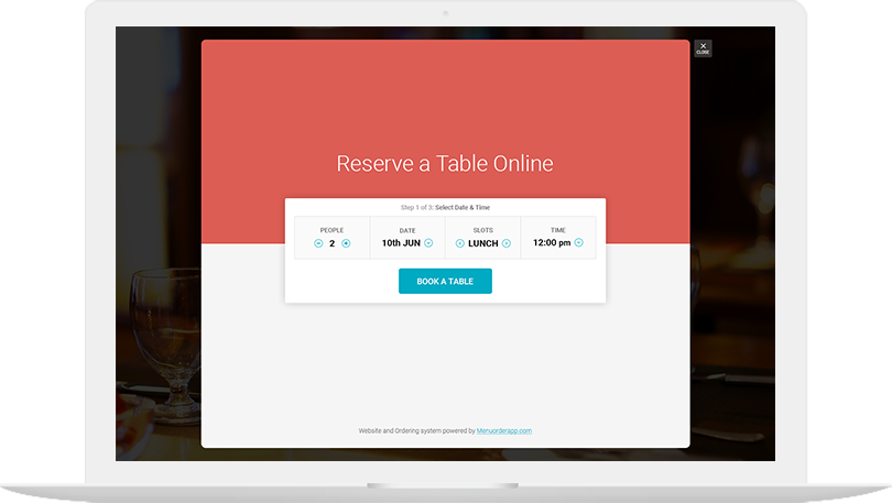 Menu Order App Website - Table reserve app